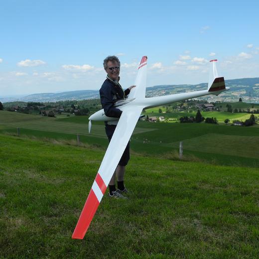 Unser Kunde mit seinem tollen Segelflugzeug